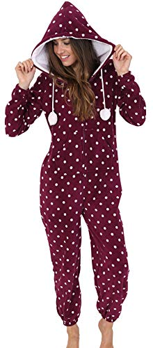 Limited Editon Soft and Cuddly Ladies, Girls Plum Spotted All-in-One Onesie with Sherpa Borg Hood Lining and Pom Pom Ties, Medium