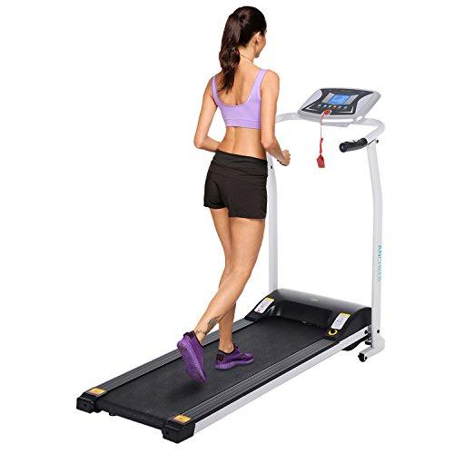 Imposes Mini Laufband Elektrisch Fitnessgeräte Zusammenklappbar Faltbares Laufband Heimtrainer mit LCD Bildschirm Zuhause Büro 125 x 59,9 x 107 cm (EU Lager) (Weiß)