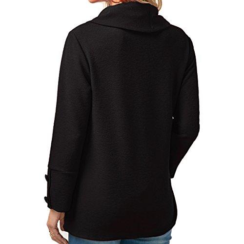 Damen Langarm Sweatshirt Cowl Neck Pullover Blusen Asymmetrischer Saum Oberteil Top Schwarz