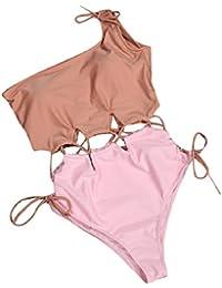 Vivi-Women Two Toned One Shoulder Sexy Hollow Out Monokini Swimwear Pink M