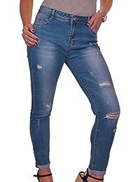 ICE (1548-1) Jeans Déchiré Extensible Longueur Cheville Bleu taille 38 à 48