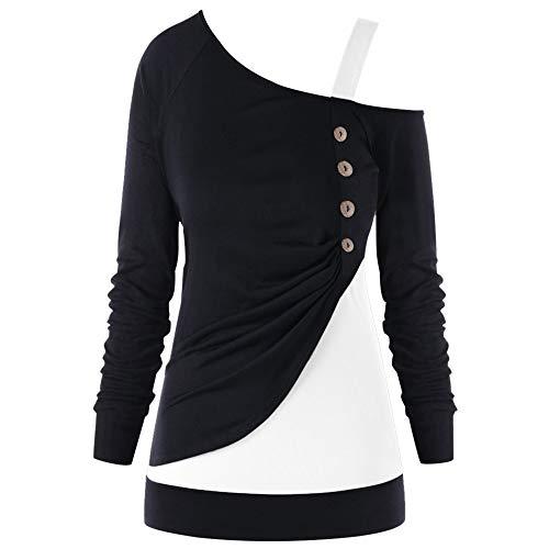 Yvelands Frauen beiläufige lose Lange Hülsen-Regenbogen-Druck Pullover Bluse Shirts ()