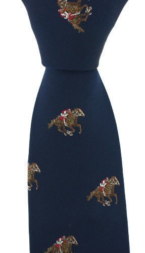 Men's Country Themed Navy Blue Horse Racing Woven Silk Tie Woven Mens Tie