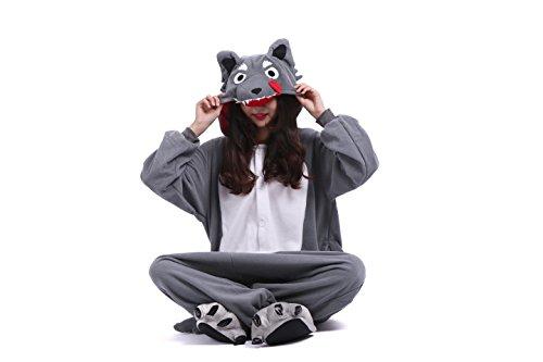 Imagen de yuwell onesie kigurumi pijamas unisex cosplay animales traje disfraz pyjamas halloween, dibujos animados lobo gris xl height 180 190cm  alternativa
