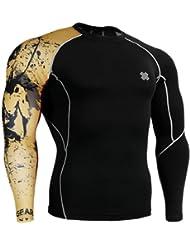 Fixgear Homme Femme Skin Tight Beige Printed Baselayer Running Tee Shirts Black