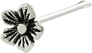 Pcm Flower Shape Silver Nose Pin in 92.5 Sterling Silver Jewellery For Women