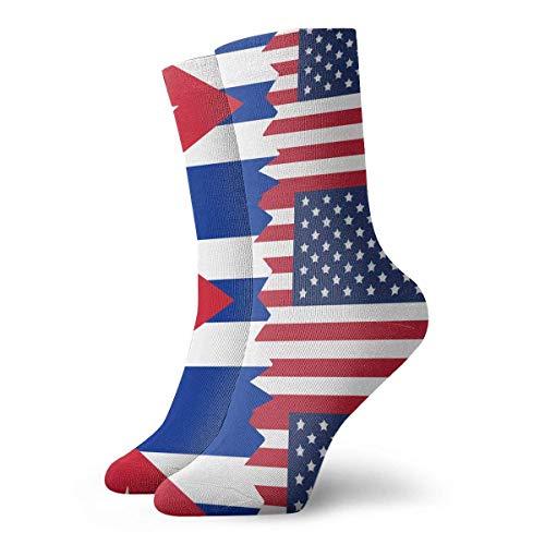 Xdevrbk Women Men Cuba USA Flag Athletic Crew Socks