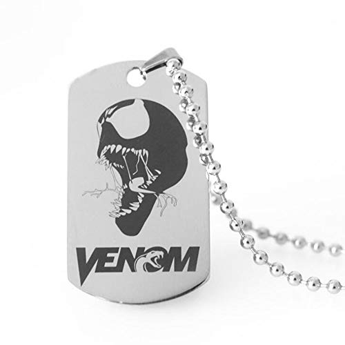 Lorh's store Venom Marvel Peripheren Produkt Tag Anhänger Halskette Venom Edelstahl Protector Schlüsselanhänger (Halskette)