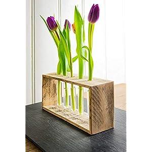 Frühlingsdeko, OSterdeko: Vase aus Holz von Obstkiste mit 5x Reagenzglas, für Trockenblumen