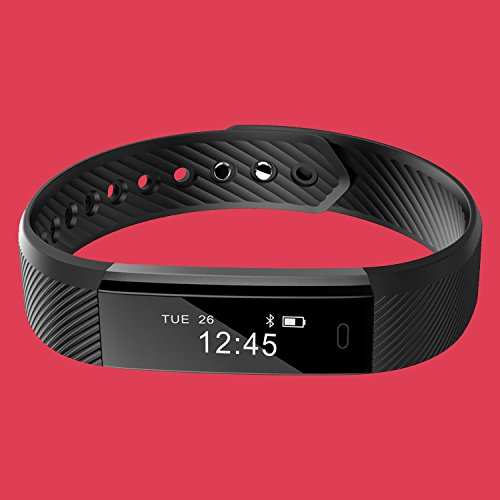 Delvfire® Fitness Tracker Watch with Sleep Monitor, Activity Tracker, Step and Calorie Counter, Bluetooth Sports Pedometer Bracelet compatible with iPhone Android for Ladies, Women, Men and Kids