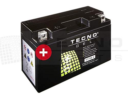 TECNO-GEL Motorrad-Batterie YT7B-4 = YT7B-BS, 12V Gel-Batterie 7Ah (DIN 50790), 150x65x92 mm inkl. Pfand