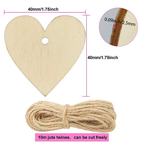 RMENOOR 100 Pcs Wooden Heart Natural Unfinished Wood Slice Discs Ornaments Blank Wooden Heart Embellishments 40mm with Hole and 10m Hanging Twine for Valentines Decorations Wedding Holiday DIY Crafts
