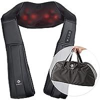 Etekcity Shiatsu Massagegerät Massagekissen Elektrisch für Nacken Rücken Schulter Nackenmassagegerät mit Wärmefunktion 8 3D-Rotation Massage, Einstellbaren Geschwindigkeiten für Haus Büro Auto, Inkl. Tragetasche