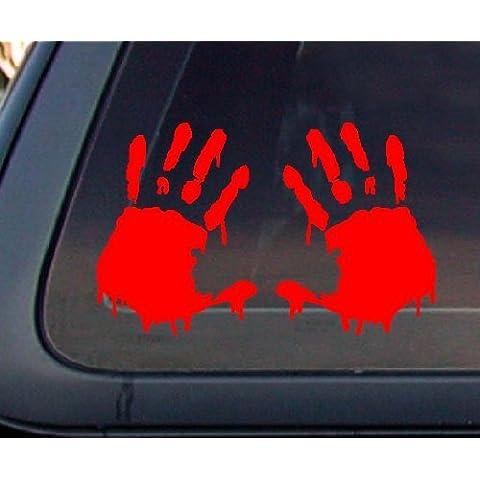 Conjunto de 2 adhesivos: diseño de mano ensangrentada zombie coche pegativa, color rojo