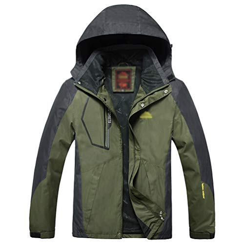 Yuandian uomo donna sottile impermeabile giacca con cappuccio foderato pile impermeabile antivento taglia grossa montagna trekking pioggia giubbotto leggero alpinismo cappotto uomo esercito l