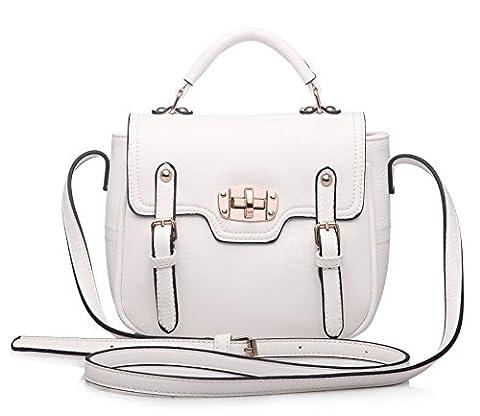 Big Handbag Shop Plain Small Buckle Effect Flap Over Top Handle Chic Bag (White)
