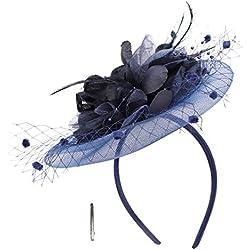 Tocado de plumas para mujer, con diadema para bodas, iglesias, cócteles, fiestas de té, bailes, carreras, sombreros, sombreros, malla, velo, sombrero, accesorio para el pelo