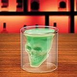 2x Kristall Schädel Skull Shot Totenkopf Wein Vodka Glas Tasse