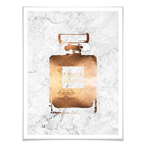 Marmor Parfüm (Poster Kupferoptik - Eau de Parfum Parfüm Flacon Duft Trend Typografie glänzend Marmor Optik Flasche Kupfer Wall-Art - 40x50 cm)