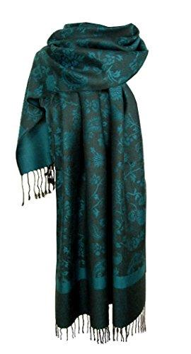 Nella-Mode Edler & Eleganter Schal, Stola; - Florales & Paisley-Muster, Petrol (Florales Schal Muster)