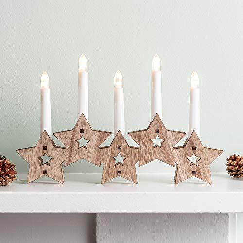 Lights4fun - Candelero Navideño a Forma de Estrellas de Madera Natural con 5 Velas Artificiales LED a Pilas