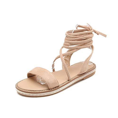 Fashion Ladies Damen Sandalen Flach Mit Schnürung Open Toe Sommer Bohemian Strand Schuhe Party Freizeit Hochzeit Abend,Pink,EU38/UK5