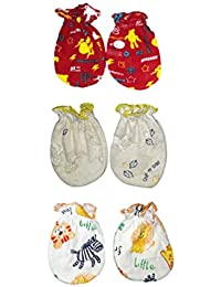 Baybee Premium Quality New Born No Scratch Mittens 100%Cotton (Random Colors and Prints) Pack of 3