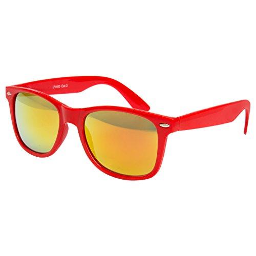 Ciffre Sonnenbrille Nerdbrille Nerd Retro Look Brille Pilotenbrille Vintage Look - ca. 80 verschiedene Modelle Rot Feuer Verspiegelt