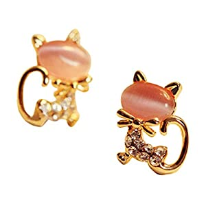 Fashion Cute Kitten Earrings Crystal Diamond-Studded Rhinestone Women Stud Earrings