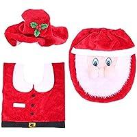 XGPT 3PCS Decoración De Navidad De Lujo Santa Cubierta del Asiento del Inodoro Y Alfombra Baño Conjunto