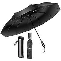 Soafiya Regenschirm Schirm Taschenschirm Windproof Sturmfest(bis 140 km/h)Regenschirm Sturmfest mit Auf-Zu-Automatik 210T Umbrella Wasserabweisend Klein Leicht Kompakt 10 Ribs Automatischer Tas
