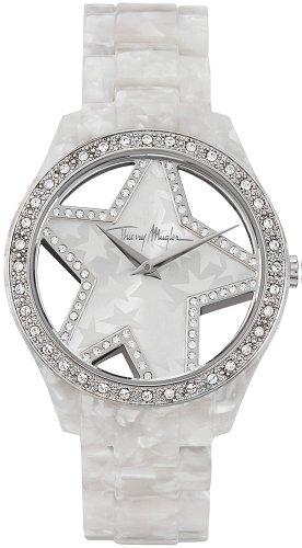 Thierry Mugler - 4716402 - Montre Femme - Quartz Analogique - Cadran Nacre - Bracelet Acétate Blanc