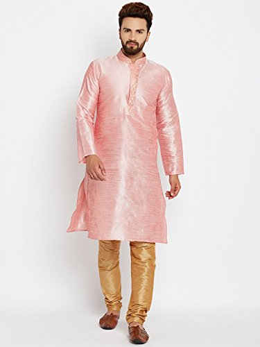 Royal Sojanya Men's Dupion Silk Kurta Churidaar With Self Brocade Design In Front Medium Pink And Gold (Brocade Kurta)