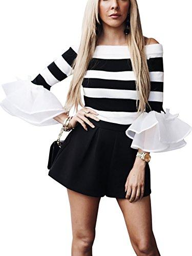 les simplee galon de vêtements à manches longues knit froissé lépaule haut chemise jumper Stripe 3
