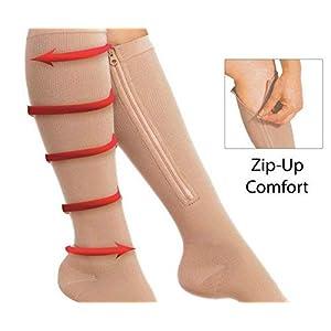 BBYY Kompression Zipper Socken Elastizität Pflegeleistung Socken Gamaschen Reißverschluss Offener Zeh Kniestrümpfe Unisex Sport Und Medizin, Laufen, Fliegen, Reisen, Krankenschwestern, Ödem