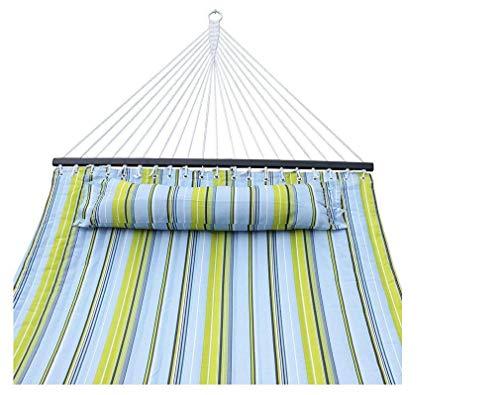 WYJW Gesteppte doppelte Hängematte Tuch blau gestreiften Kissen Größe 2 Personen Bett Schlaf Spreader Bar Swing Holzstab schwere Outdoor 135 X 55 Zoll. -