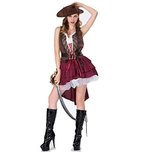 TUWEN Halloween KostüM Jack Hostess KostüM Caribbean Pirate KostüM Cosplay Erwachsene PiratenkostÜM BüHne Zeigen (Weibliche Caribbean Pirate Kostüm)