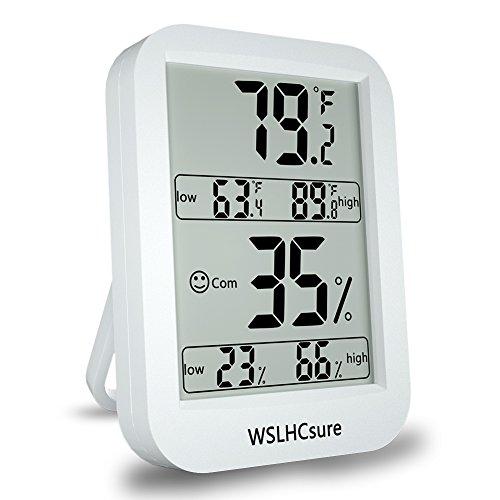 WSLHCsure digitales Thermo-Hygrometer , Innenraum-Thermometer und Feuchtigkeitsdetektor, 4.5 Zoll LCD-Großbildschirmanzeige, hohe / niedrige Temperaturfeuchtigkeitsaufzeichnung, mit dem Magneten und der faltenden Klammer einfach zu ordnen, passend für Familie, Lager, Büro und so weiter (weiß ) (Hohe Temperatur Lcd)