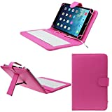 Vovotrade® Copertura di cuoio universale da 7 pollici con il micro tastiera USB per il PC (rosa caldo)