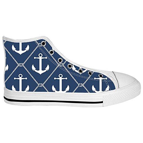 Dalliy Blue ocean Anchor Women's Canvas Shoes Lace-up High-top Footwear Sneakers Chaussures de toile Baskets E