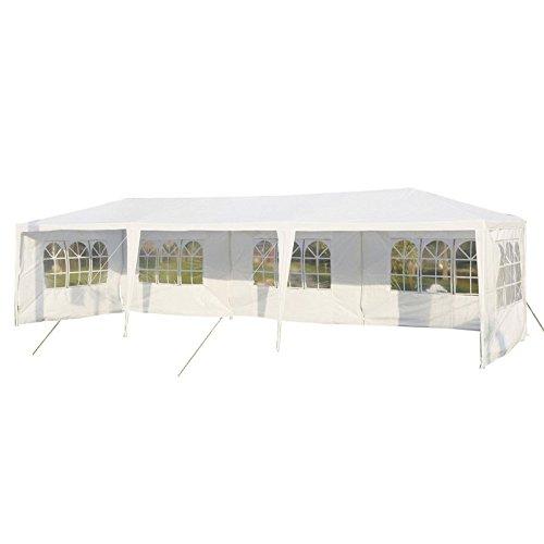LARS360 3 x 9m Bianco Tenda esterno Tenda da giardino Padiglione Tenda birra Tenda gazebo con 5 pareti laterali, 5 finestre, copertura PE impermeabile