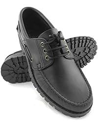 Zerimar. Zapato para caballeros náutico de piel de primera calidad con suela de goma flexible Color negro.