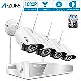 A-ZONE (1080P) Full HD Funk Überwachungskamera Set IP Kamera 4 Kanal 1080P NVR 4*2.0MP Wlan Kamera mit Bewegungsmelder Außen, Mit Festplatte 1TB