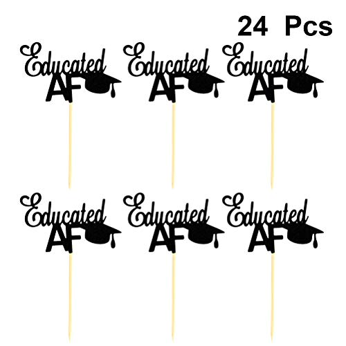 Amosfun Gebildete Doktorhut geformte Cupcake Toppers Graduation Paper Cake Picks Cupcake Dekorationen Graduation Decoration Supplies 24PCS (Graduation Cake Pops)