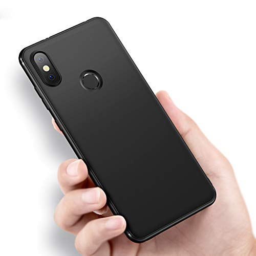 Richgle Schwarz Dünn Weich TPU Silikon Hülle Schutzhülle Slim Case + Displayschutzfolie für Xiaomi Mi Max 3 RG10158