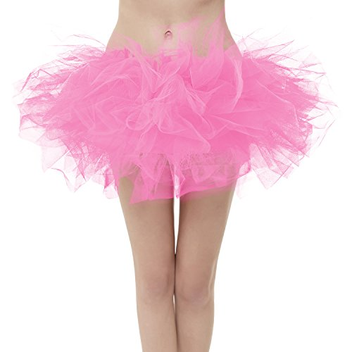 GirstunmBrand Damen 50er Mini Tüll Tutu Puffy Ballett Bubble Rock Rosa-Plus (Plus Größe Rosa Tutu)