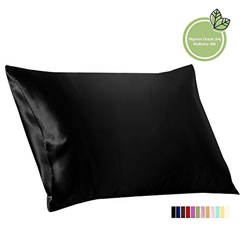ELLESILK Maulbeerseide Kopfkissenbezug, 100% Charmeuse-Seide von 22 Momme, Anti-Aging, Schwarz, 50 x 75cm, 1 Stück