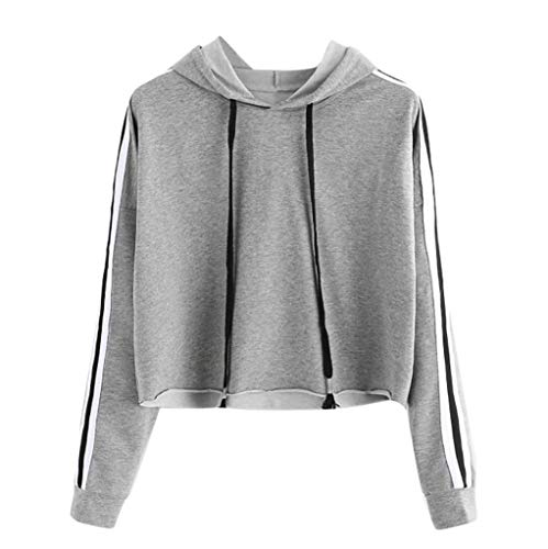 TWIFER Damen Pullover mit Kapuze Herbst Gestreiftes Langarmshirt Sweatshirt