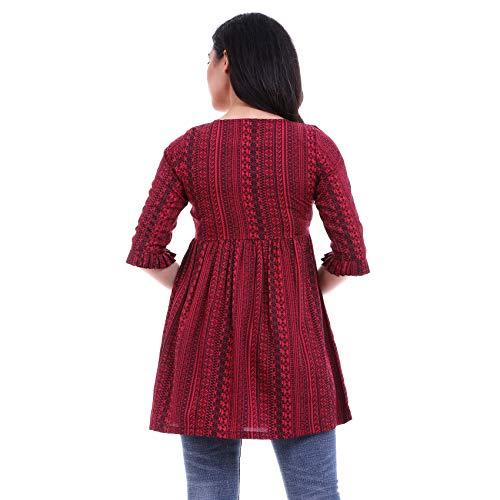 ROZVEH Women's Crepe Print Ruffle Hem Tunic Top (Maroon, Medium)
