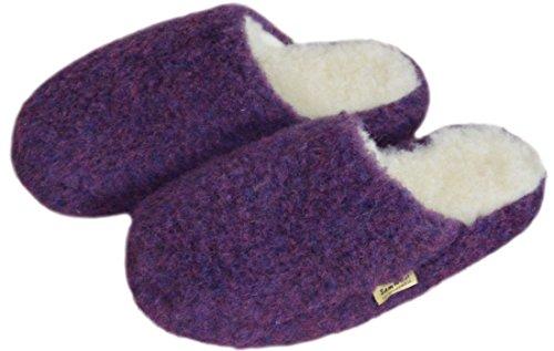 SamWo Chauffe-reins, doux, confortable, look Pantoufles/Unisexe Semelle Anti-Dérapante en laine de mouton, 100% laine de mouton, Violet, dimensions: 35–42 Violet - violet